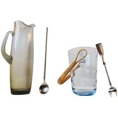 Vintage Holmegaard Martini Pitcher & Ice Bucket with Georg Jensen Stirrer & Tong