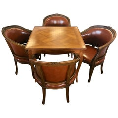 Italian Fruitwood Game Dining Table with Four Barrel Back Brown Leather Chairs