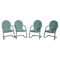 Outdoor Lawn/ Beach Metal Chairs in Sea Foam Green, 4