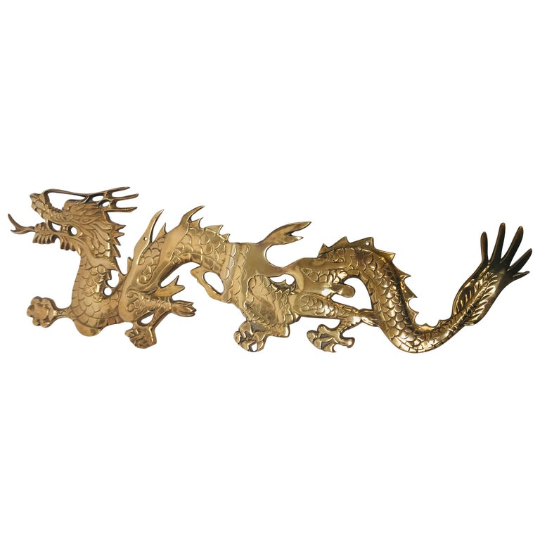 Wall Mount, Asian Cast Brass Dragon Chasing a Ball For Sale