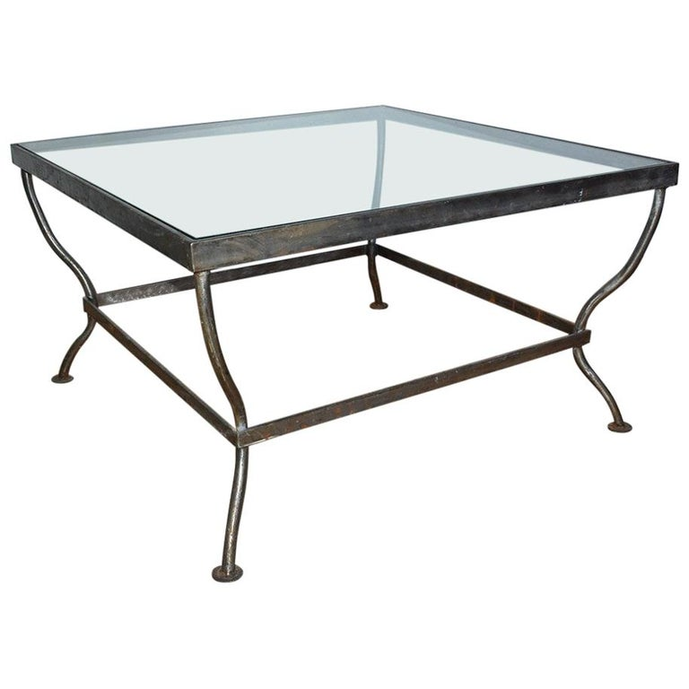 Custom Made Square Glass and Polished Iron Coffee Table by BH & A For Sale