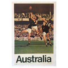 Original Vintage Poster Australia Tourism AFL, 1967