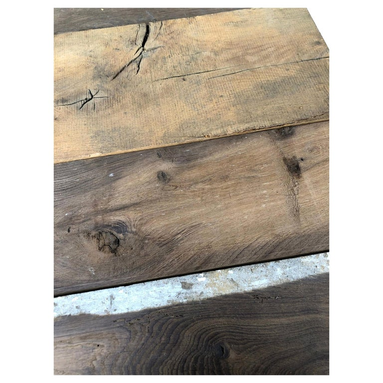 Original French Antique Solid Wood Oak Flooring, 18th Century, France For Sale