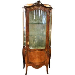 Antique French Formed Walnut Bombay Shaped Vitrine Cabinet with Bronze Mounts