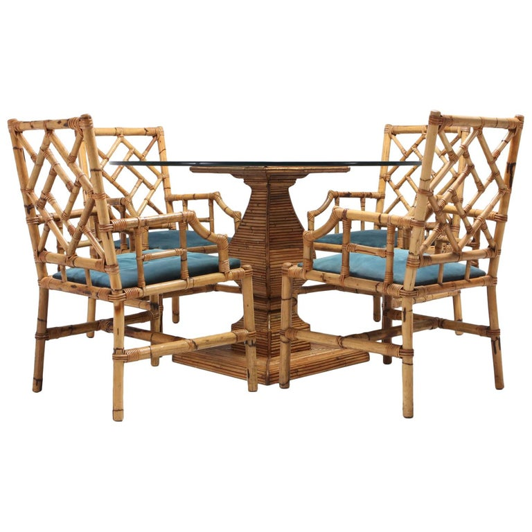 Tropicalist Bamboo Dining Suite, 1970s For Sale