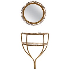 Rattan Console Table and Round Mirror, Italy