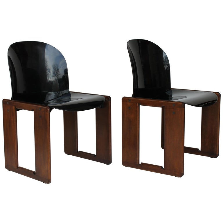 "Pair of Mid-Century Italian Tobia Scarpa ""Dialogo"" Chair for B&B Italia, 1970s For Sale"