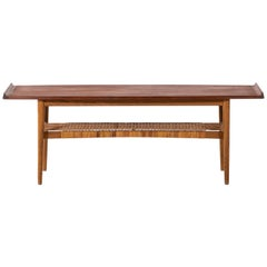 Coffee Table in Teak, Oak and Woven Cane Produced in Denmark