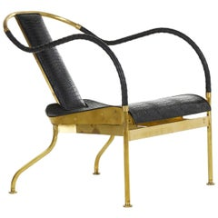 Mats Theselius El Ray Armchair Brass & Crocodile Easy Chair Källemo Sweden, 1999