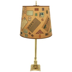 French Art Deco Polished Brass Column Table Lamp with Letters and Stamps Shade