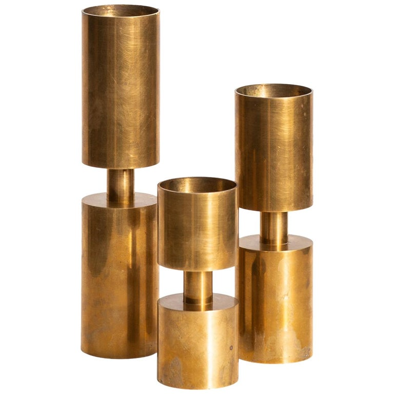Thelma Zoéga Candlesticks in Brass Produced in Sweden For Sale