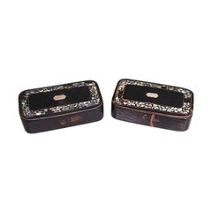 19th Century Black Lacquered Wooden Snuff Boxes Inlaid with Mother of Pearl