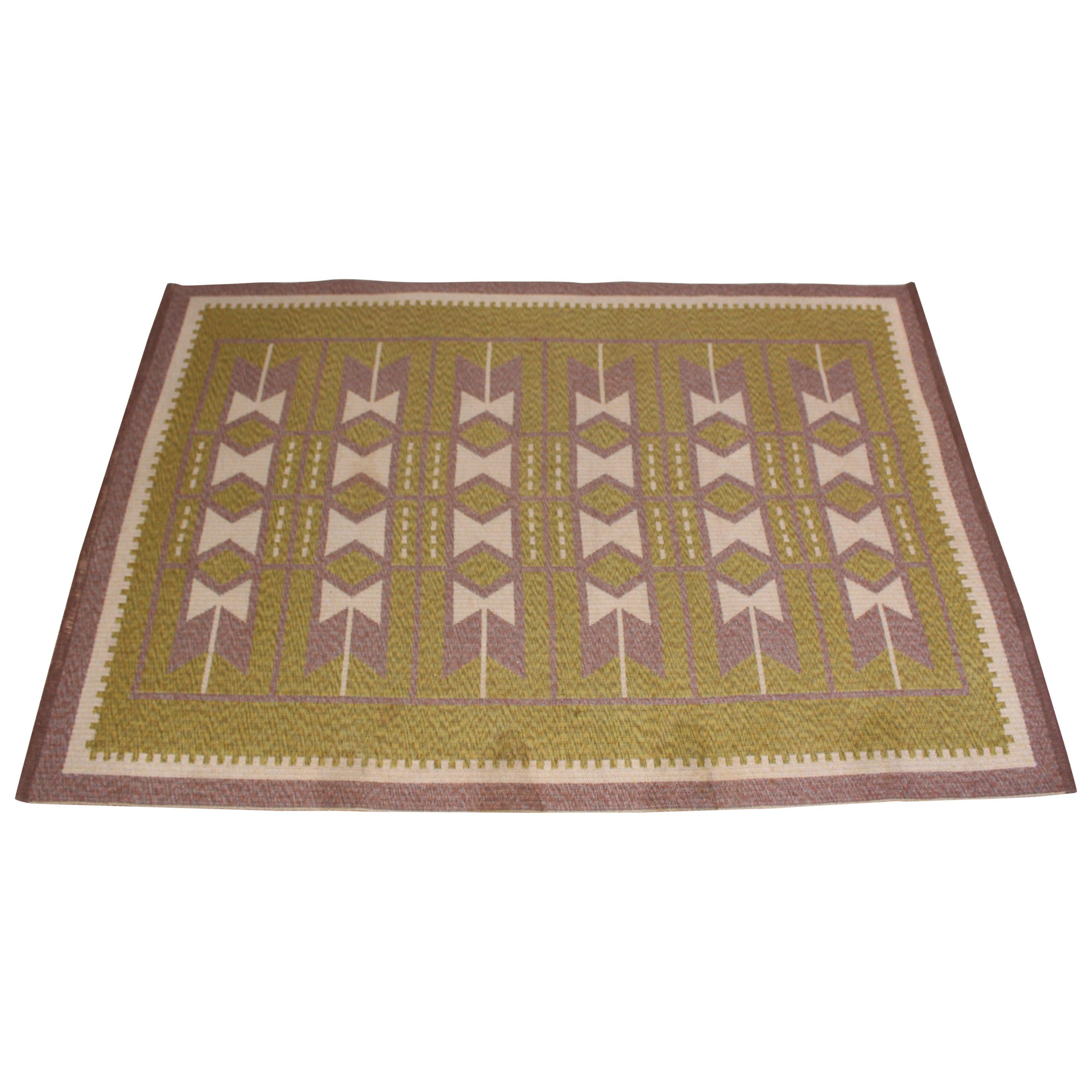 Midcentury Swedish Flat Weave Carpet (Dubble Weave), 1950s
