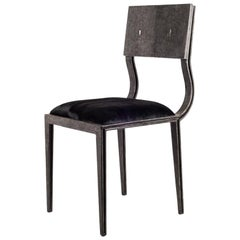 Lola Chair in Coal Black Shagreen with Upholstered Seat by R&Y Augousti