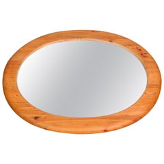 Midcentury Large Oval Solid Pine Mirror, Sweden, 1960s