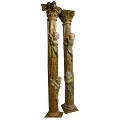 18th Century Pair of Hand Carved Polychromed Wooden Columns