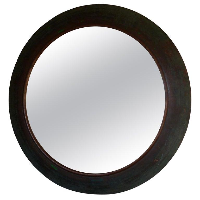 19th Century Copper Circular Framed Wall Mirror For Sale