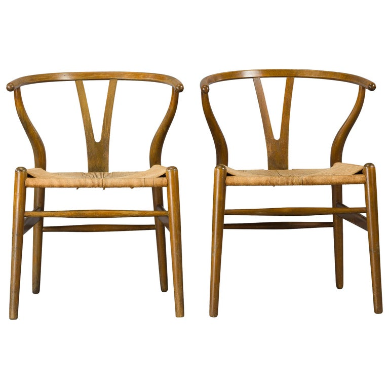 Midcentury CH24 Wishbone Chairs by Hans J. Wegner for Carl Hansen & Søn Made in For Sale