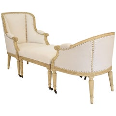 1850s Louis XVI Style Duchesse Brisee in Original Lacquer and Re-Upholstered