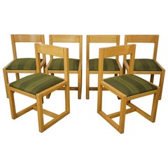 Scandinavian Style Wooden and Fabric Set of 6 Dining Chairs