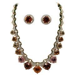 Decorative Swarovski Necklace and Earring Set