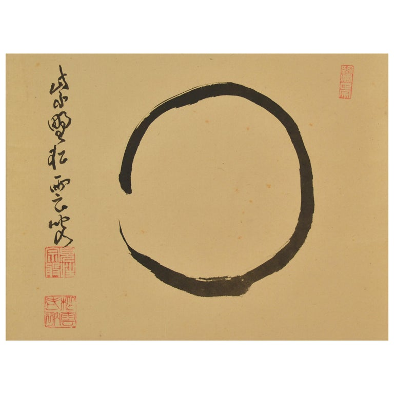 Early 20th Century Enso Zen Circle by Zen Master Shuhan Genpo For Sale