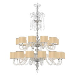 Diamante Neoclassical Crystal Chandelier with Colored Shades I