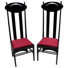 "Charles Rennie Mackintosh ""Argyle"" High Back Chairs by Cassina, 1973"