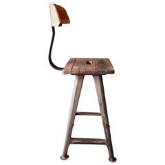 Industrial Stool or Chair by Rowac with Backrest, circa 1930