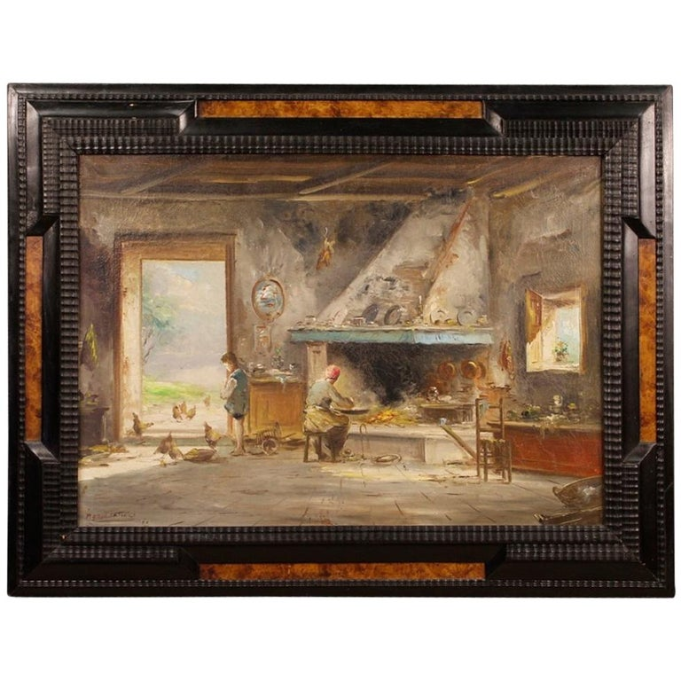 20th Century Oil on Canvas Italian Signed Interior Scene Painting, 1950 For Sale