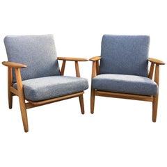 Pair of GE240 Cigar Chairs by Hans J Wegner for GETAMA, Upholstered in Grey Wool
