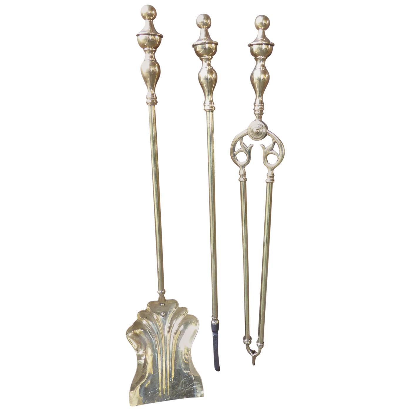 English Polished Brass Victorian Companion Set or Fireplace Tool Set