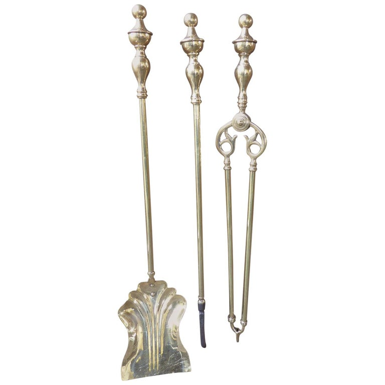 English Polished Brass Victorian Companion Set or Fireplace Tool Set For Sale