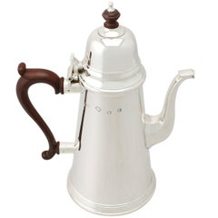 1970s Georgian Style English Sterling Silver Coffee Pot