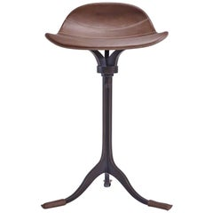 Counter-Height Swivel Stool, Truffe Leather, Brown Brass by P. Tendercool