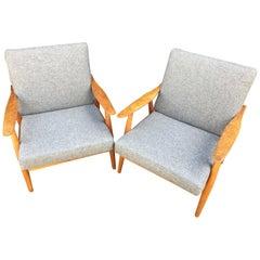 Pair of Rare Oak GE270 Armchairs by Hans J Wegner for GETAMA
