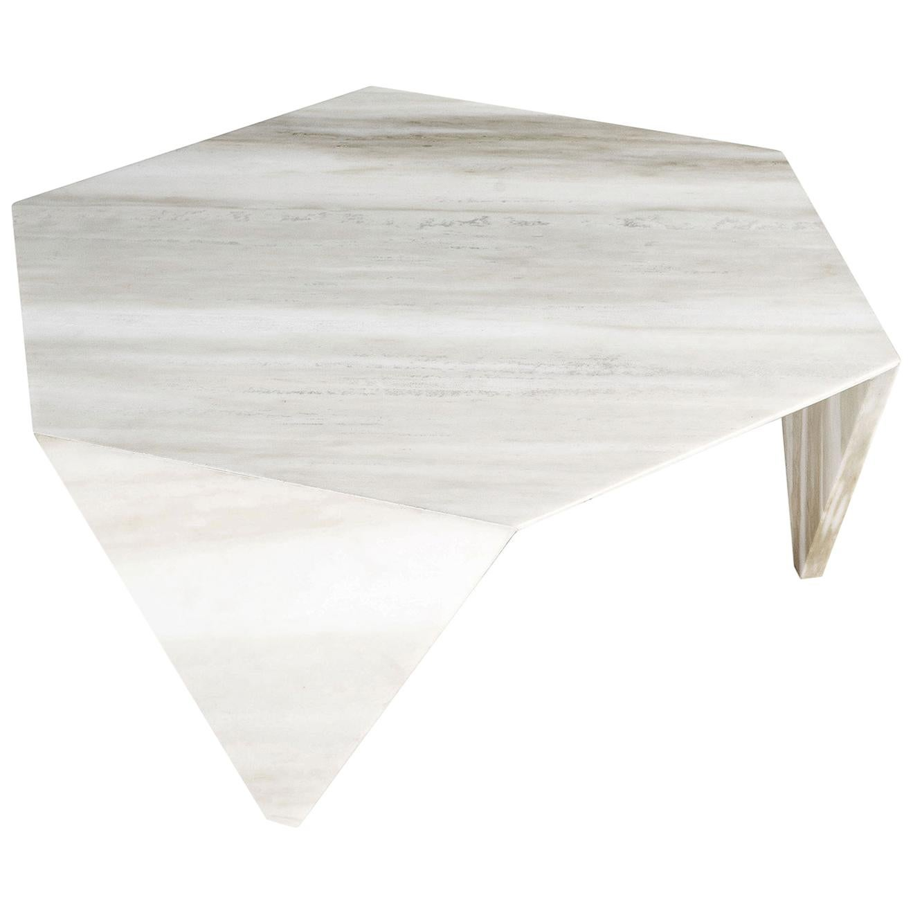 Small Table Ruche, in Marble White New Calacatta, Italy