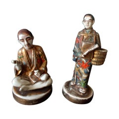 "Pair of 19th Century Satsuma Porcelain ""Dignitaries"""