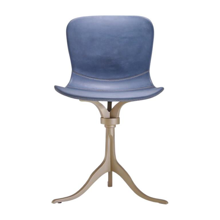 Bespoke Swivel Chair in Blue Leather and Hand Cast Brass Base by P. Tendercool