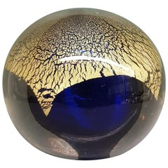 20th Century Glass Paperweight with Blue Bell and Gold Leaf