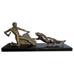 Outstanding Original Art Deco Bronze Study of Hunter Panther by J Brault