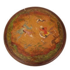 Wooden Painted Indian School Hunting Scene Lazy Susan