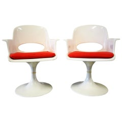 Pair of Space Age Fiberglass Armchairs in Tulip Form