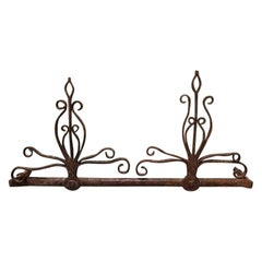 17th-18th Century Dutch Wrought Iron Fireplace Tools Wall Rack