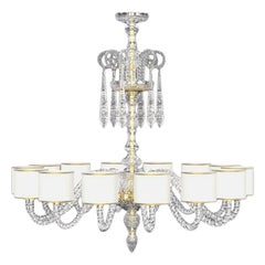 Diamante Neoclassical Crystal Chandelier with Colored Shades II