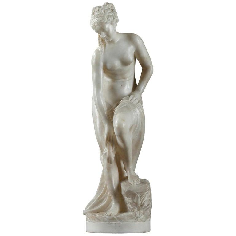 Late 19th Century Alabaster Statue, Bather by Guglielmo Pugi