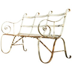 Regency Metal White Painted Garden Bench, 19th Century 1820s