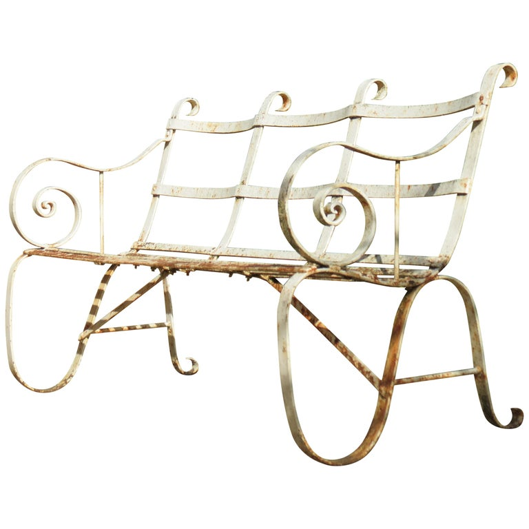Regency Metal White Painted Garden Bench, 19th Century 1820s For Sale