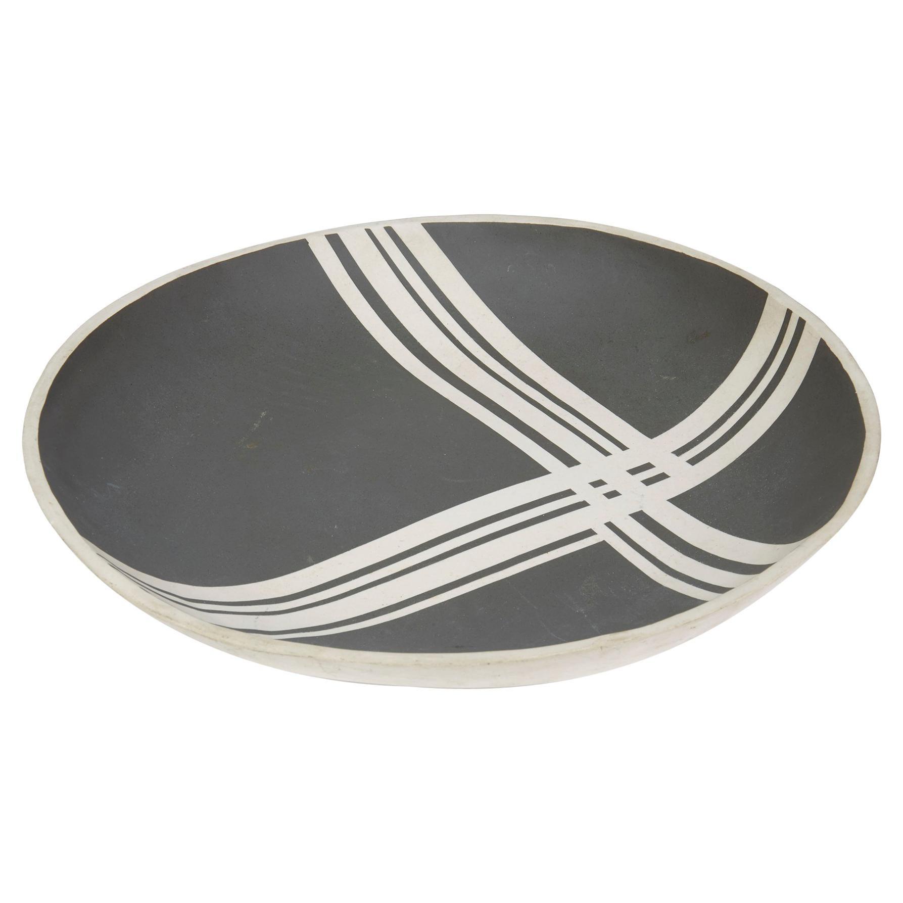 Black Linear Pattern Studio Pottery Bowl Signed