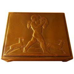 Rockwell Kent Bacchus Cigarette Box for Chase Chrome and Brass, 1935 Art Deco
